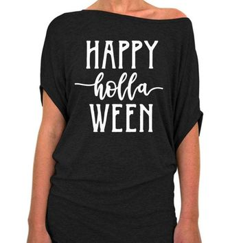 Happy Holla Ween, Halloween Slouchy Tee - Off The Shoulder Slouchy T-shirt