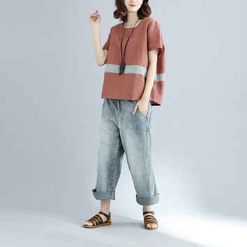 Johnature Women Striped T-Shirts Short Sleeve 2017 Summer New Casual Loose Cotton Linen O-Neck Brief 3 Colour Tops Fashion