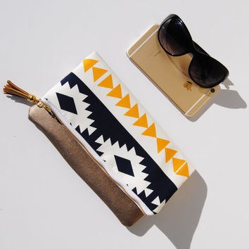 AZTEC FOLDOVER CLUTCH, Southwest tribal bag, everyday casual clutch, leather accent pouch, fold over clutch, iPad sleeve, kindle case
