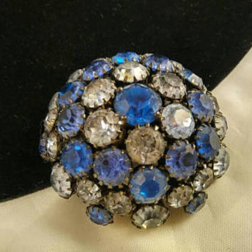 Now On Sale Warner Signed Dome Blue Rhinestone Brooch Big Bold Classy Vintage 1950's Designer Signed Old Hollywood Glam Jewelry