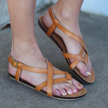 Lesly Strappy Sandals {Tan}