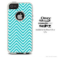 The Sharp Blue Chevron V3 Skin For The iPhone 4-4s or 5-5s Otterbox Commuter Case