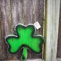 Large Decorative Hanging Shamrock green and silver