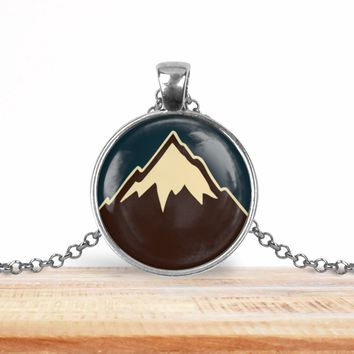 Snow capped mountain pendant necklace, choice of silver or bronze, key ring option