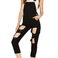 Distressed Cutout Overalls in Black