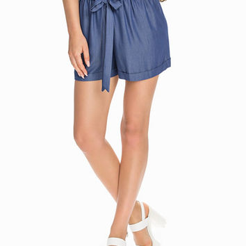 Chambrey Paperbag Shorts, Miss Selfridge