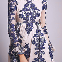 Floral Pattern Flare Long Sleeve A-line Dress