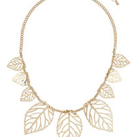 Cut Out Leaf Necklace - Gold