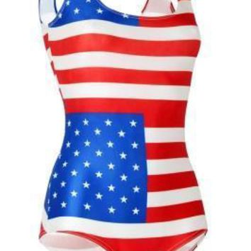 Stretchy Scoop Back Stars And Stripes Bathing Suit One Piece