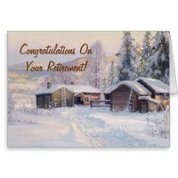 Winter Cabins Retirement Card