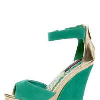 Dollhouse Lively Sea Green and Gold Platform Wedges