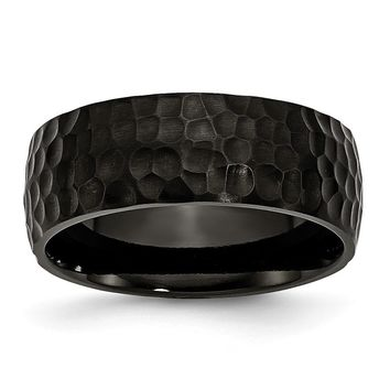 Men's Titanium Black IP-Plated Hammered Wedding Band Ring