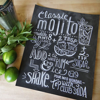 Typography Print - Mojito Recipe - Cocktail Recipe - Kitchen Art - Chalkboard Art - Hand Lettering