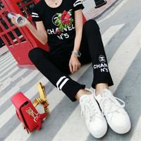 """""""CHANEL"""" Women Fashion Letter Print Flower Embroidery Sequin Short Sleeve Casual Set Two-Piece Sportswear"""