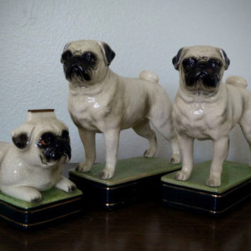 Pair of vintage Takahashi San Francisco pug dog book ends and tape dispenser, ceramic figurines made in Japan, dog home goods