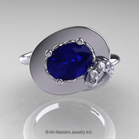 Art Nouveau 14K White Gold Oval 1.0 Ct Royal Blue Sapphire Diamond Nature Inspired Engagement Ring R296-14KWGDBS