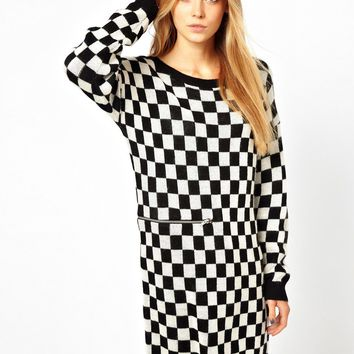 Monki Black & White Check