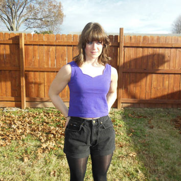 Vintage 1980's purple, cropped tank top.  Crop top with scalloped neckline.