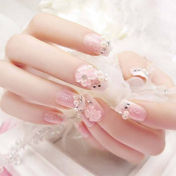 Hig 24 Pcs/Set 3D Fake Nails With Glue Wedding Bride Full Nail Tips Middle-Long Cute French False Nails For Nial Art  88