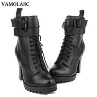 VAMOLASC New Women Autumn Winter Warm Genuine Leather Ankle Boots Zipper Square High Heel Martin Boots Platform Women Shoes