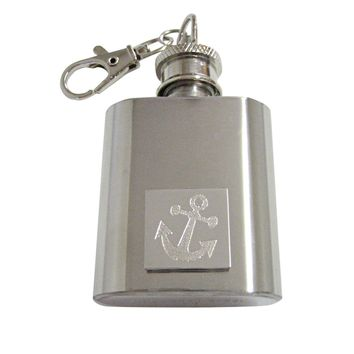 Silver Toned Etched Leaning Nautical Anchor 1 Oz. Stainless Steel Key Chain Flask