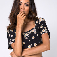 Cavazza Crop Top in Grunge Daisy Floral by Motel