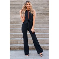 Elegant Wish Tie Front Jumpsuit (Black)