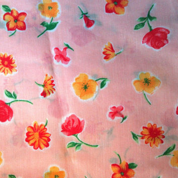 Vintage Poly Cotton Blend Fabric, 1/2 and 5/8 Yard Cuts, Pink Floral, 44/45 inches wide