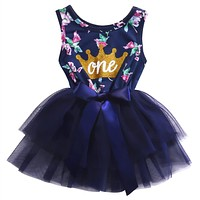Baby Girls Purple Floral Crown Princess Dress
