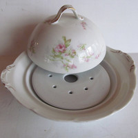 Theodore Haviland Limoges Beautiful Victorian Dome Top Butter Dish with Insert Mismatch China Victoria Austria Dome Butter dish Porcelain