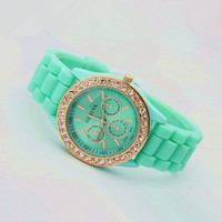 Mint Color Silicone Watch 02B