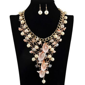 A Suit of  Faux Pearls Shell Multilayer Necklace and Earrings