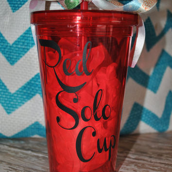 Red Solo Cup Acrylic Cup with Straw
