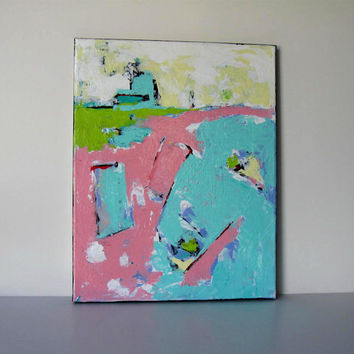 Turquoise and Pink Abstract Original Acrylic Painting on canvas, Nursery Decor, Wall Art
