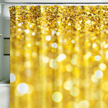 "Bath Shower Curtain bling glitter sparks shimmer gold 71x71""(180x180cm)"