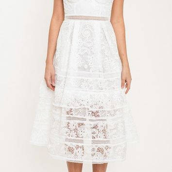 Angel Cake Lace Sleeveless Spaghetti Strap Bustier Pleated A Line Midi Dress - 2 Colors Available