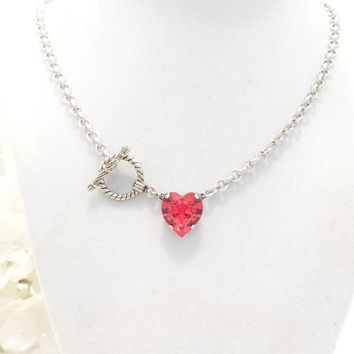 swarovski CRYSTAL HEART PENDANT, petite, light red, valentines day, love, designer inspired, red heart, great gift