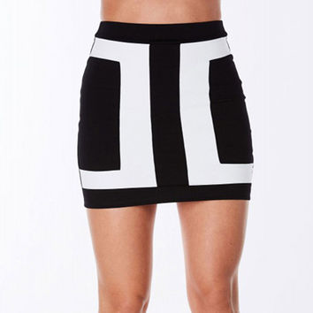 New Brand Fashion Arrival 2017 Black And White Patchwork High Quality Summer OL Party Casual Pencil Sexy Short Skirt Women