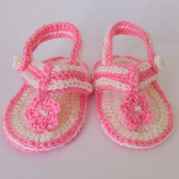 Light Pink Crochet Baby  Flower, Gladiator Sandals, Baby Crochet Sandals, Newborn Crochet Sandals, Infant Sandals Or Choose Your Color
