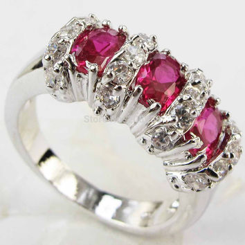 Stunning Fashion 4.2CT Synthetic Ruby Zircon Heavy  White Gold Plated Ring 1217