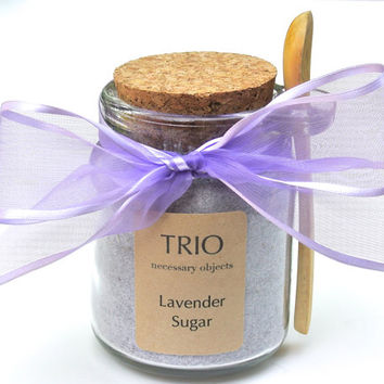Lavender Sugar- 8 oz  Glass Sugar Jar with Mini Wooden Spoon for Tea Parties, High Tea, Coffee, Tea, Berries, Cider, Lemonade, Baking
