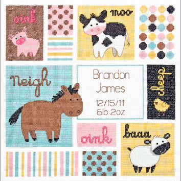 """Baby Hugs Barn Babies Birth Record Counted Cross Stitch Kit-12""""""""X12"""""""" 14 Count"""