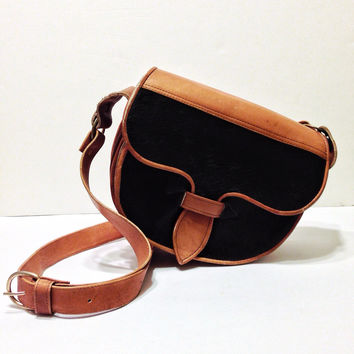 Vintage 80s Leather Cow Hair Western Festival Bohemian Cross Body Adjustable Messenger Purse Bag