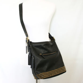 Coach Legacy Leather Studded Duffel in black