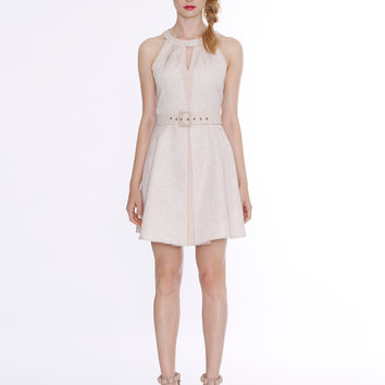 Honey & Beau Latte Scale Back Floaty Dress