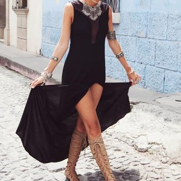 For Love and Lemons Lulu Maxi Dress in Black