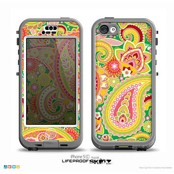 The Vibrant Green and Pink Paisley Pattern Skin for the iPhone 5c nüüd LifeProof Case