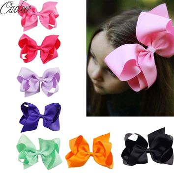 "32PCS/LOT 6"" Hair Bow Girls Solid Ribbon Hair Bows With Clip"