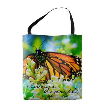 """""""Sparkle"""" quote monarch butterfly photo tote bag"""