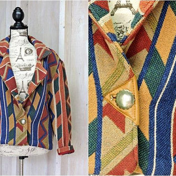 Southwestern jacket / size S / M /  Tribal / Aztec / Santa Fe / woven cotton jacket